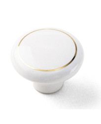 Porcelain Knob 1 1/2-Inch in White with Ring