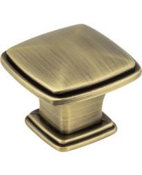 """Milan 1 3/16"""" Plain Square Knob in Brushed Antique Brass"""