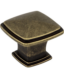 "Milan 1 3/16"" Diameter Plain Square Knob in Lightly Distressed Antique Brass"