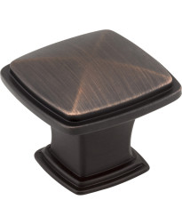 "Milan 1 3/16"" Plain Square Knob in Brushed Oil Rubbed Bronze"