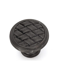 1 1/8-Inch Churchill Round Knob-Oil Rubbed Bronze/Black Leather Insert