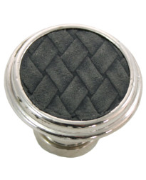 1 1/8-Inch Churchill Round Knob-Polished Nickel/Black Leather Insert