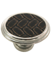 1 5/8-Inch Churchill Oval Knob- Polished Nickel/Brown Leather Insert