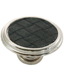 1 5/8-Inch Churchill Oval Knob- Polished Nickel/Black Leather Insert