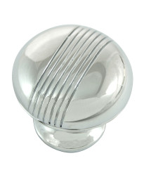 Striped Knob 1 1/4-Inch in Polished chrome