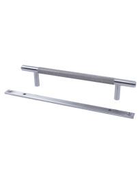 "Diamond Knurling 5-1/16"" (128mm) cc Knurled Pull with Backplate, Matte Satin Nickel"