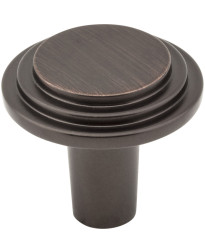 """Calloway 1 1/8"""" Diameter Stepped Rounded Cabinet Knob in Brushed Oil Rubbed Bronze"""