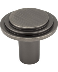 """Calloway 1 1/4"""" Diameter Stepped Rounded Cabinet Knob in Brushed Pewter"""