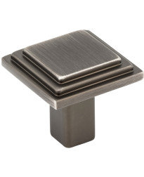 """Calloway 1 1/8"""" Overall Length Stepped Square Cabinet Knob in Brushed Pewter"""
