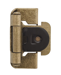 1/2in (13 mm) Overlay Double Demountable Burnished Brass Hinge - 2 Pack