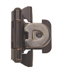 1/4 in (6 mm) Overlay Single Demountable, Partial Wrap Oil-Rubbed Bronze Hinge - 2 Pack