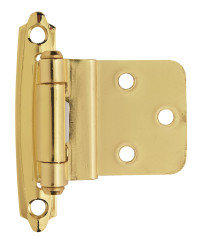 3/8in (10 mm) Inset Self-Closing, Face Mount Polished Brass Hinge - 2 Pack