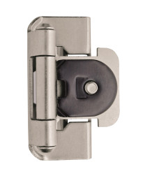 1/2in (13 mm) Overlay Double Demountable Satin Nickel Hinge - 2 Pack