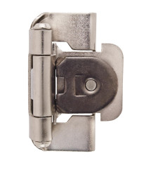 1/2in (13 mm) Overlay Single Demountable, Partial Wrap Satin Nickel Hinge - 2 Pack