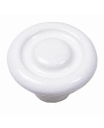 Porcelain Knob - Circle Impression 1 3/8-Inch in White