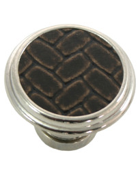 1 1/8-Inch Churchill Round Knob- Polished Nickel/Brown Leather Insert