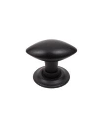 Rio Oval Knob, Matte Black, 1 3/16 inch (30mm) dia