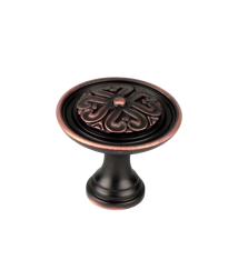 """Iris 1-3/8"""" Diameter Knob, Antique Bronze, Copper"""