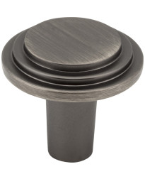 """Calloway 1 1/8"""" Diameter Stepped Rounded Cabinet Knob in Brushed Pewter"""