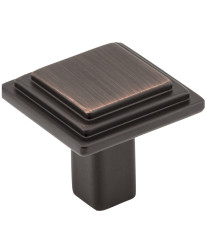 """Calloway 1 1/8"""" Overall Length Stepped Square Cabinet Knob in Brushed Oil Rubbed Bronze"""