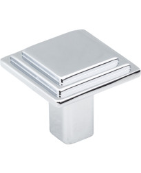 """Calloway 1 1/8"""" Overall Length Stepped Square Cabinet Knob in Polished Chrome"""