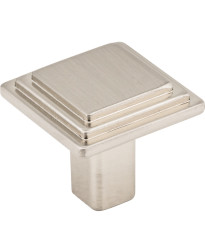 """Calloway 1 1/8"""" Overall Length Stepped Square Cabinet Knob in Satin Nickel"""