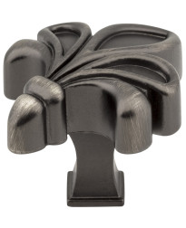 "Evangeline 1 3/4"" Fleur de Lis Knob in Brushed Pewter"