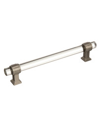 Glacio 6-5/16 in (160 mm) Center-to-Center Clear/Satin Nickel Cabinet Pull