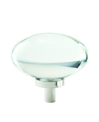 Glacio 1-3/4 in (44 mm) Length Clear/Polished Nickel Cabinet Knob