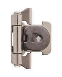 1/4 in (6 mm) Overlay Double Demountable Satin Nickel Hinge - 2 Pack