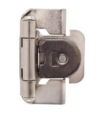 1/2in (13 mm) Overlay Single Demountable, Partial Wrap Satin Nickel Hinge - 2 Pack