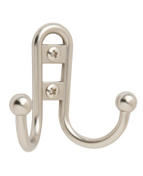 Double Prong Silver Robe Hook